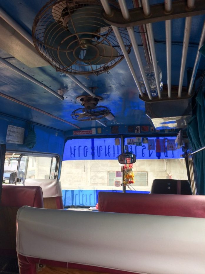Bus to the White Temple in Chiang Rai, Thailand