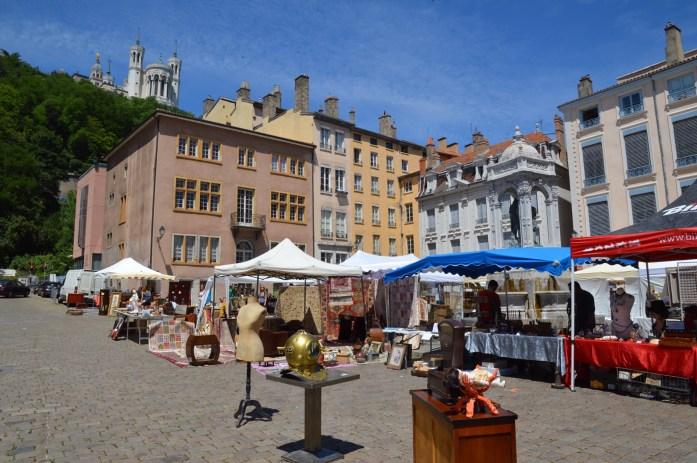 Flea market, Place Saint-Jean, Vieux-Lyon, Lyon, France