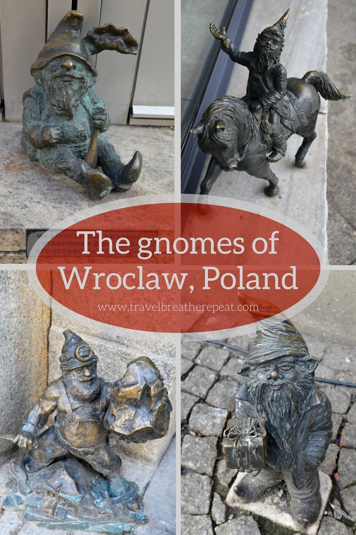 All about the gnomes of Wroclaw, Poland; history of the Wroclaw gnomes; pictures of Wroclaw gnomes; Wroclaw krasnale