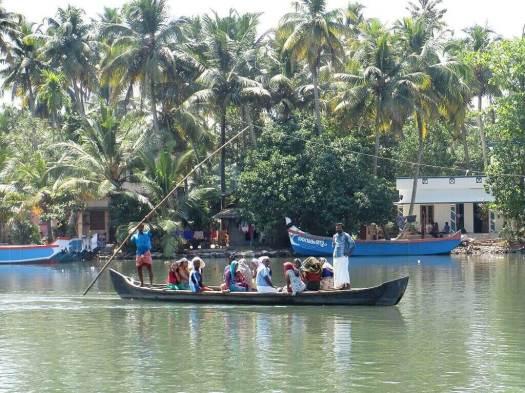 Local transport boat in Kerala India