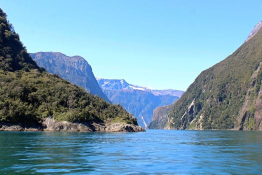 Water view of the cruise on Milford Sound