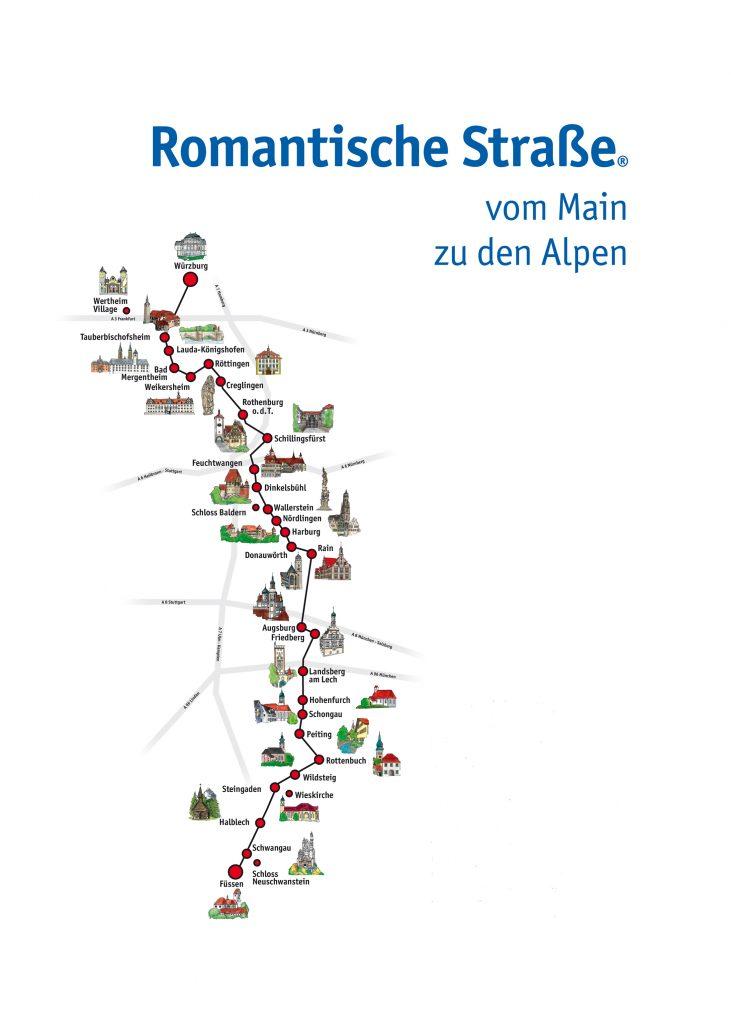 Romantische Straße Deutschland Karte Route