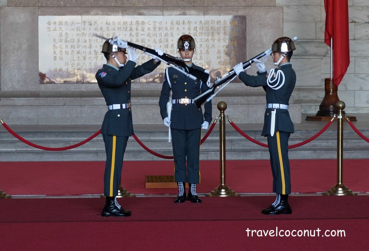 The changing of the guard ceremony at Chiang Kai Shek Mmemorial Hall