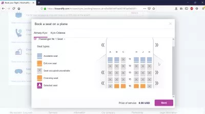 Kiss And Fly review of a flight booking : Seat selection