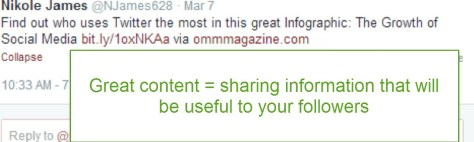Sharing great information will create an image for your business and your followers will look for your posts.