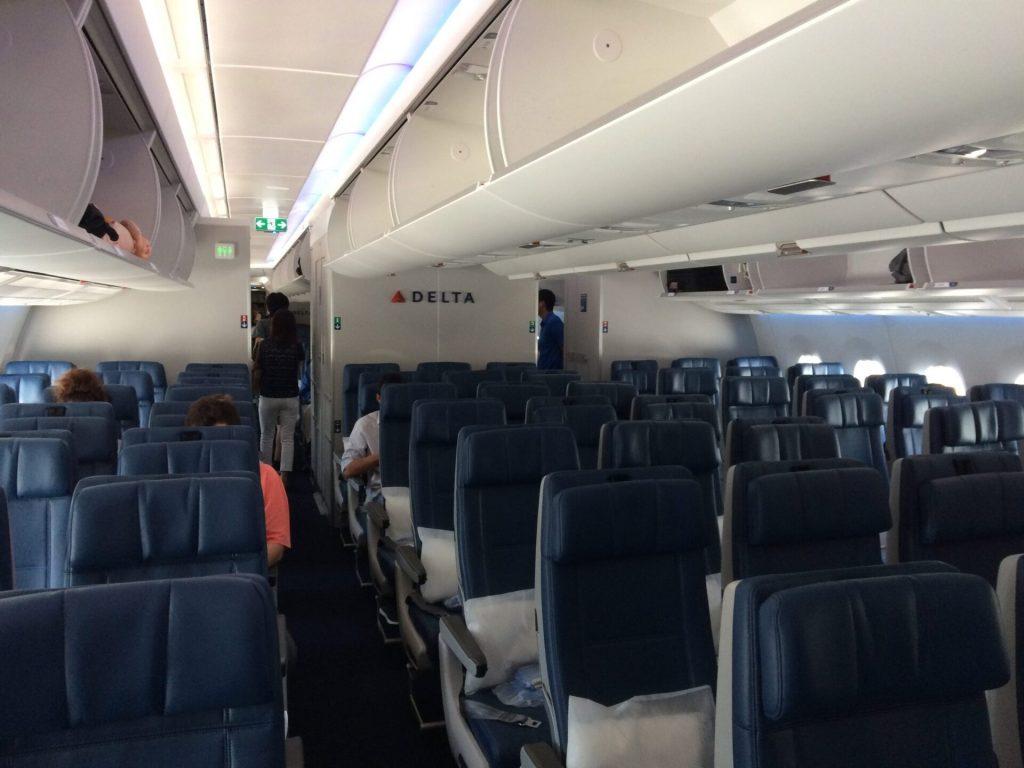 デルタ航空エアバスA350の機内