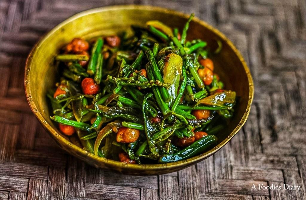 Authentic Assamese Food(Stir fried fiddlehead ferns): Dhekia Bhaji