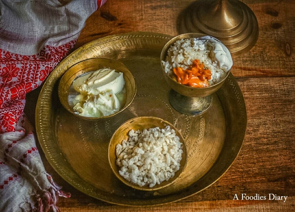 Authentic Assamese Food: Doi Chira(Beaten rice, Curd and Jaggery)