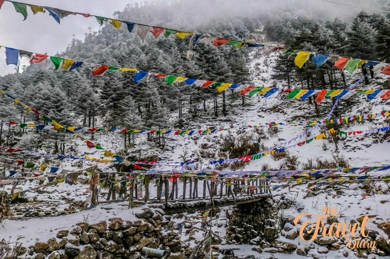 Snow covered landscape of Sela Pass, Tawang, Arunachal Pradesh