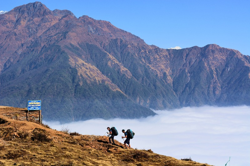Trekkers on their way up in the mountains