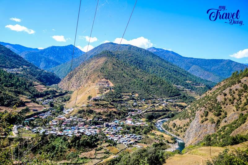 Aerial view of Dirang Valley, Arunachal Pradesh