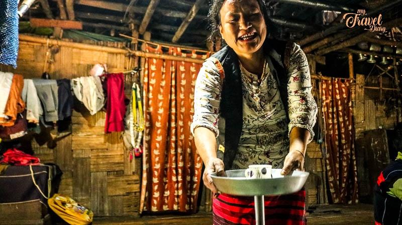 Woman offering me Poka in Ledum Village_Arunachal Pradesh