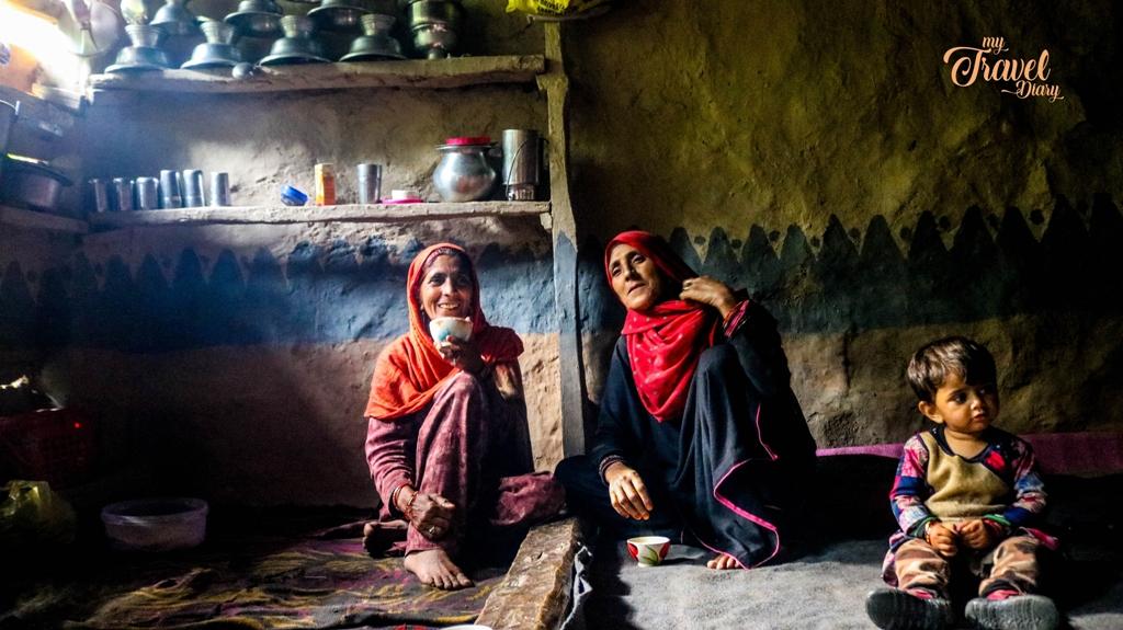 The Bakarwal women inside their hut