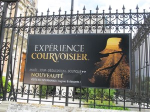 Sign for the Courvoisier Visitor Centre in Jarnac near Cognac in France