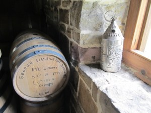 Barrel and old lamp at the George Washington Distillery at Mount Vernon in Virginia, near Washington DC.