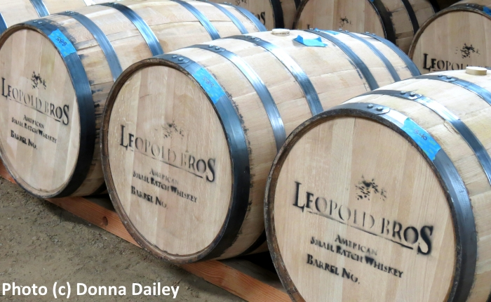 Barrels at the Leopold Brothers Distillery in Denver, Colorado, USA
