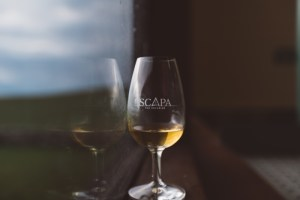 Glass of Scapa Glansa from the Scapa Distillery on Orkney in Scotland