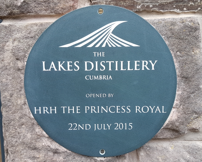 Sign at The Lakes Distillery in Cumbria, opened by HRH The Princess Royal
