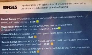 Part of the cocktail menu at the MoMix Bar Kerameikos in Athens