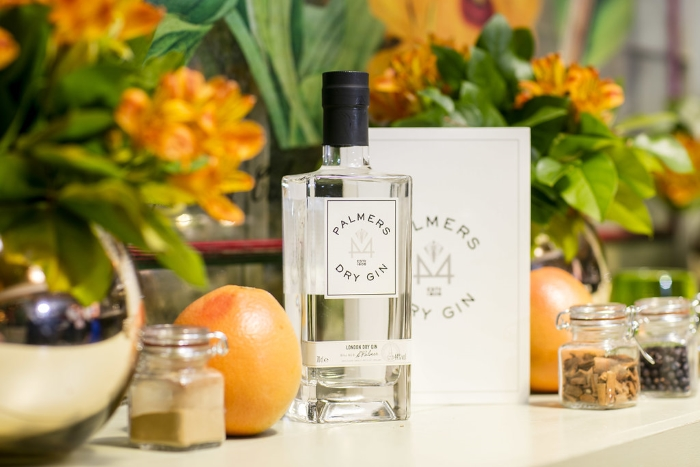 Palmers London Dry Gin bottle and display