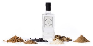 Palmers London Dry Gin bottle and botanicals