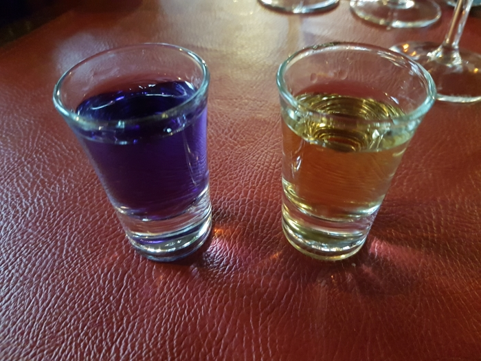 Glasses of normal and violette peket at The Maison du Peket Restaurant, also known as the Amon Nanesse Restaurant, in Liege, Belgium