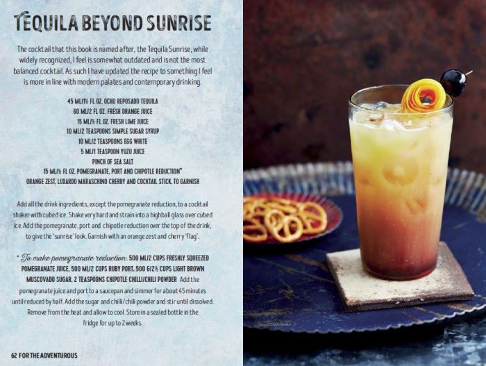 Tequila Beyond Sunrise cocktail recipe from the tequila and mezcal cocktail recipes book, Tequila Beyond Sunrise, by Jesse Estes