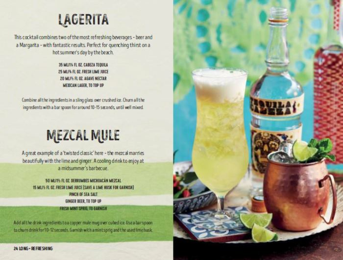 pages from the tequila and mezcal cocktail recipes book, Tequila Beyond Sunrise, by Jesse Estes