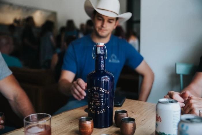 Tasting sotol at the Desert Door Texas Sotol Distillery