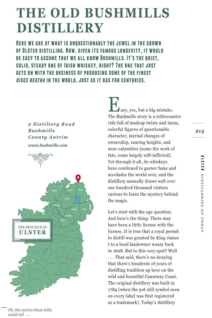 A sample page from the book From Barley to Blarney, a guide to Ireland's whiskey distilleries.