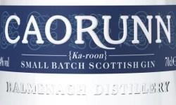 Detail from a bottle of Caorunn Highland Strength Gin