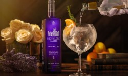 A Highclere Castle Downton Abbey Gin bottle with a gin and tonic cocktail