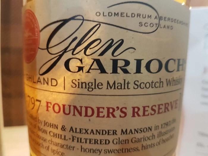 A bottle of Founder's Reserve whisky at the Glen Garioch distillery in Aberdeenshire in Scotland