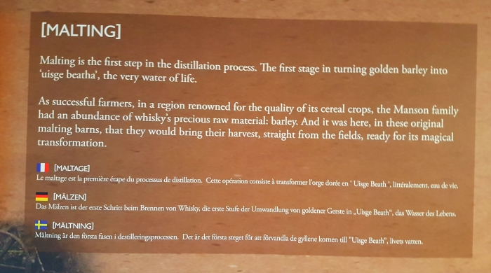 A sign explaining the malting process at the Glen Garioch distillery in Aberdeenshire in Scotland