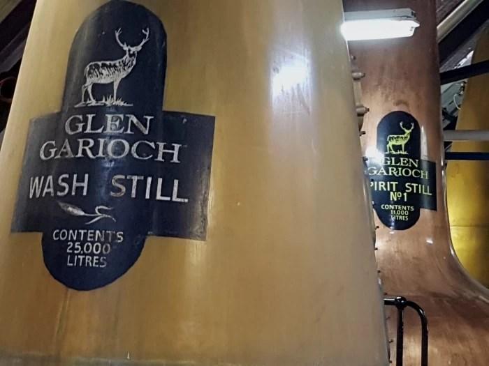 Whisky stills at the Glen Garioch distillery in Aberdeenshire in Scotland