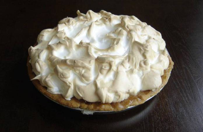 Traditional key lime pie with meringue
