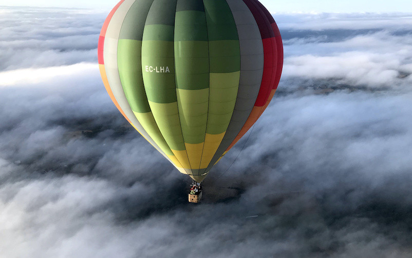 Hot Air Balloon at Ribeira Sacra in Spain.