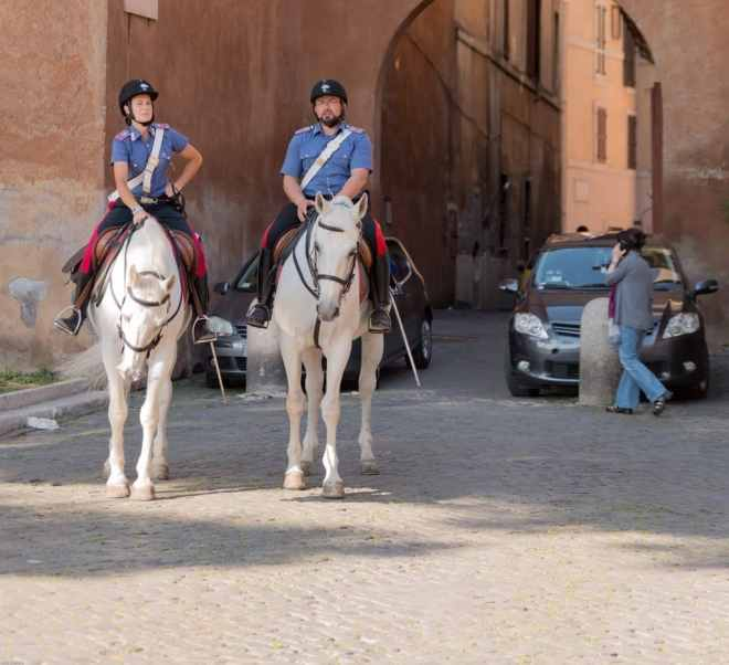 Italian mounted police in Rome