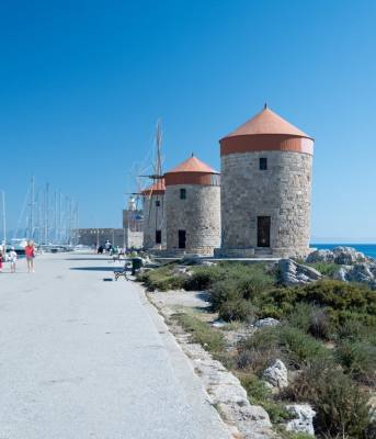 Rhodes Greece old windmills now offices