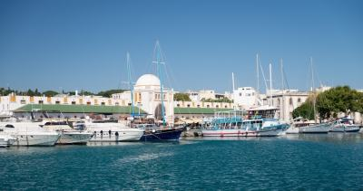 Boats in the harbour Rhodes Greece