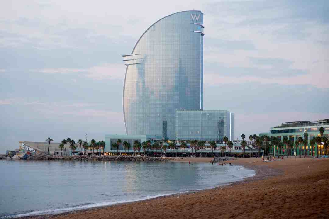 Hotel W Barcelona and a lonely empty beach