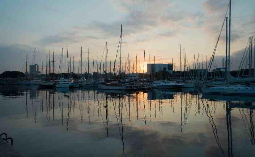 sunrising over the harbour barcelona spain
