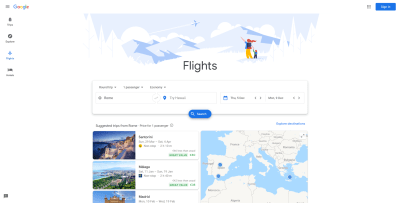 Google Flights intro screen