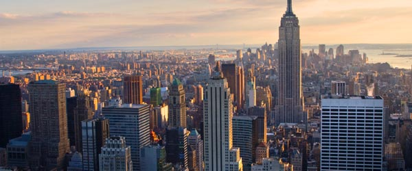 A look at Manhattan and the Empire State Building at sunset.