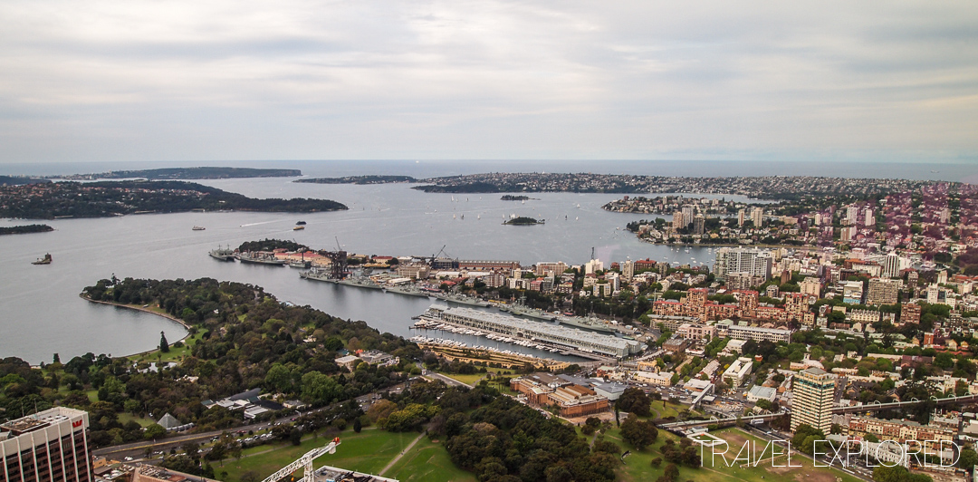 Sydney - View of Botanical Gardens and Sydney Harbour from Sydney Tower