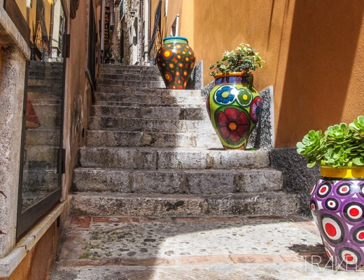 Observer - Catania Stairs with colourful pots