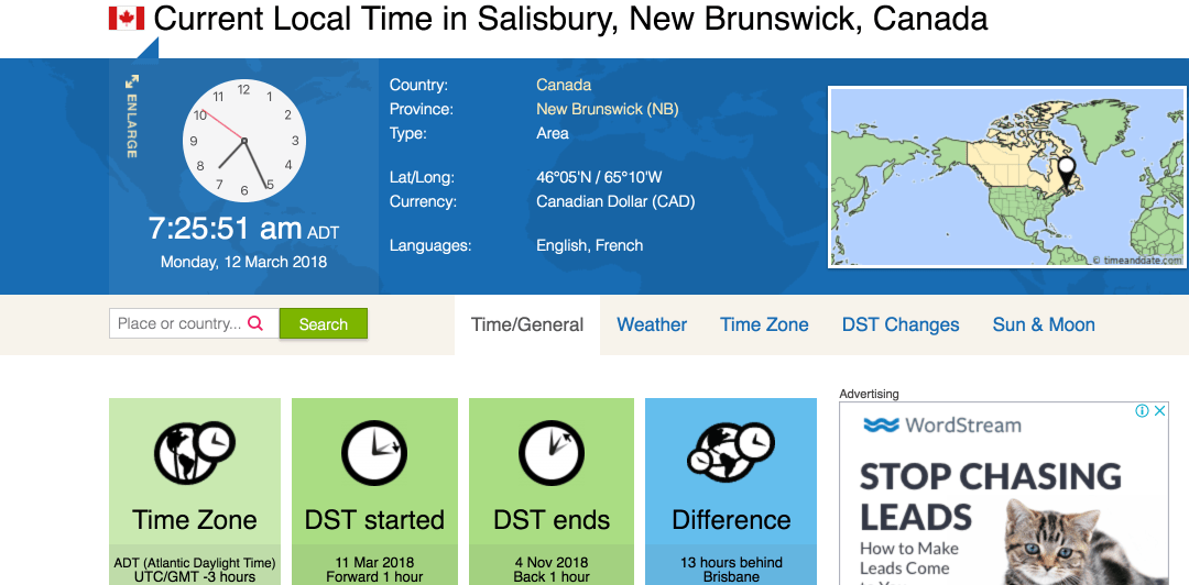 Time Zone - Salisbury, Canada on Time and Date