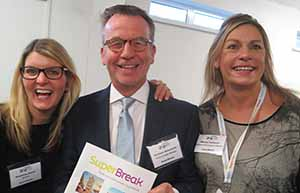 Madeleine Roast, Graham Balmforth and Wendy Cameron of Superbreak at Holiday World in RDS