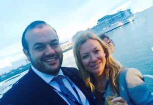 Antonio Paradiso of MSC and Celine Kenny of Cruisescapes at the MSC Mewraviglia float our in St Nazaire, September 2 2016