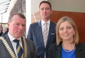 Skal Dublin club president Daragh O'Neill with Stephen Hanna GM Camden Court Hotel and Paula Barry Herbert Park Hotel